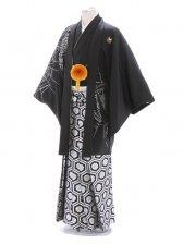 紋付袴322/黒/シルバー亀甲柄