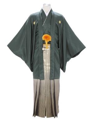 紋付袴283/グリーン/黒金ストライプ