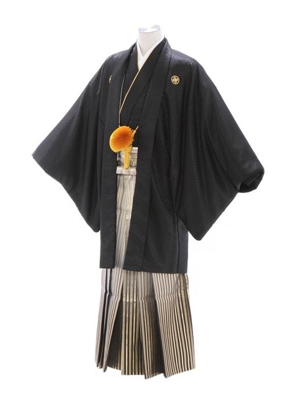 紋付袴213/黒/ゴールド黒太ぼかし