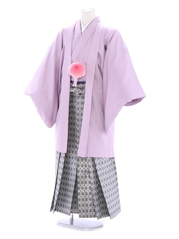 紋付袴180/紫/銀地若松柄