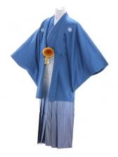 紋付袴51/青/白シルバー青ぼかし