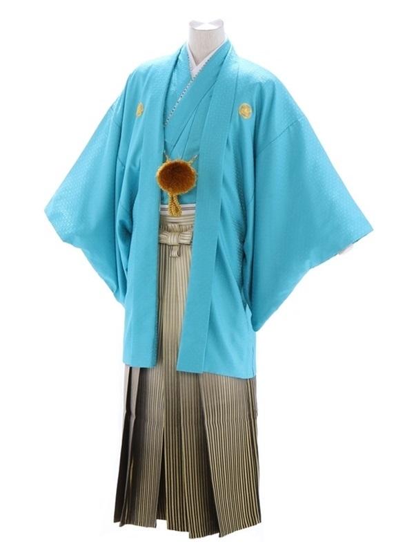 紋付袴201/水色/白ゴールド黒縞ぼかし