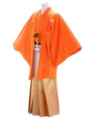 紋付袴226/オレンジ/白シルバー山吹色ぼかし
