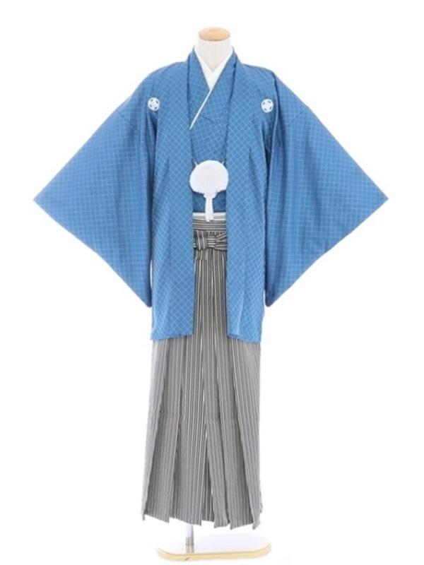 紋付袴50/青/黒シルバー白柄