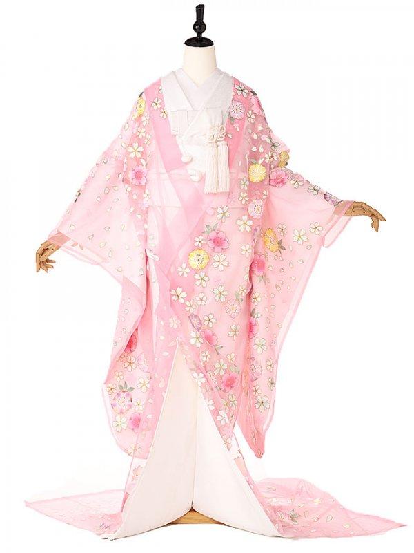色打掛ピンクオーガンジー花ずくし