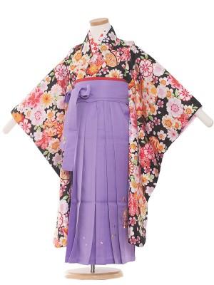 女児袴(5女)1002 黒/花盛り