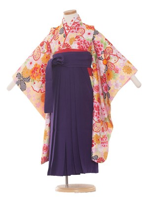 女児袴(5女)1003 クリーム/花盛り
