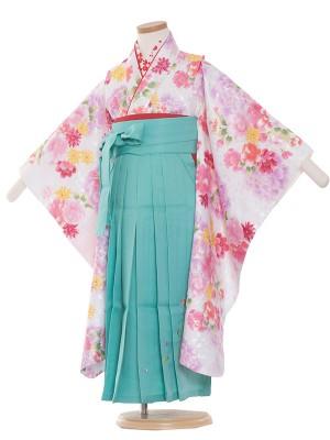 女児袴(5女)1004 白/花盛り