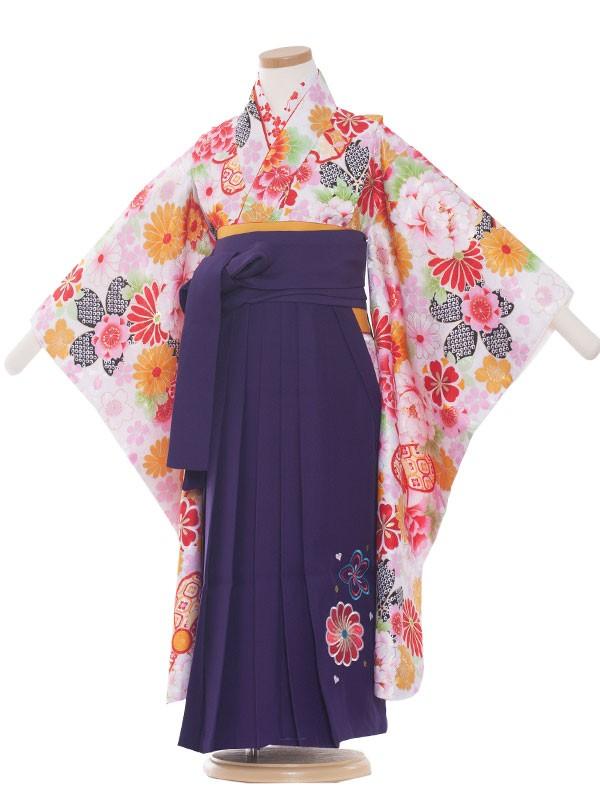 女児袴(5女)1005 白/花盛り  袴60