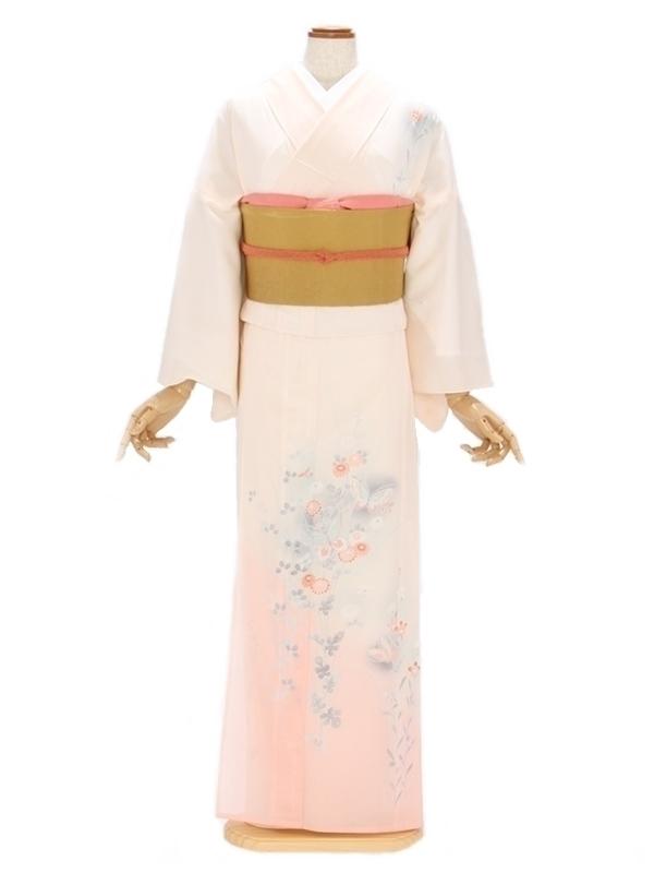 付下げ(絽)5ピンク地 裾ぼかし 蝶に秋草