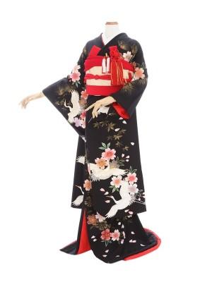 黒引き振袖225黒地鶴桜