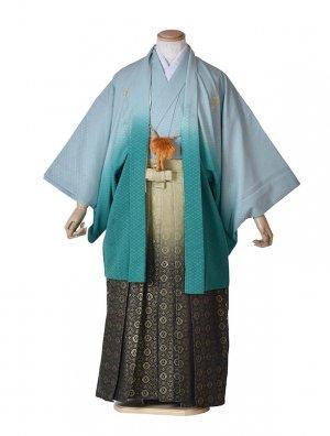 男性用袴・成人式・卒業式・グリーングラデーション紋服
