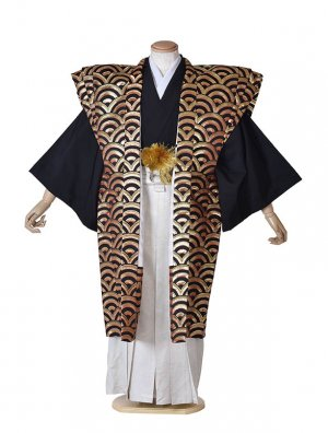男性用袴・裃・成人式・ド派手紋服・黒金青海波裃6号