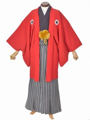 男性用袴・成人式・卒業式・赤アメリカ紋服