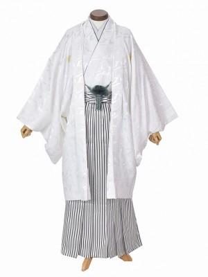男性用袴・成人式 白ゴールド紋「37」