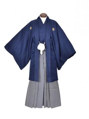 男性用袴・成人式・卒業式/紺シンプル紋服