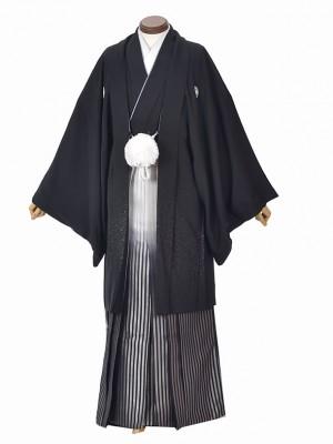 男性用袴・成人式・卒業式・正絹黒紋付
