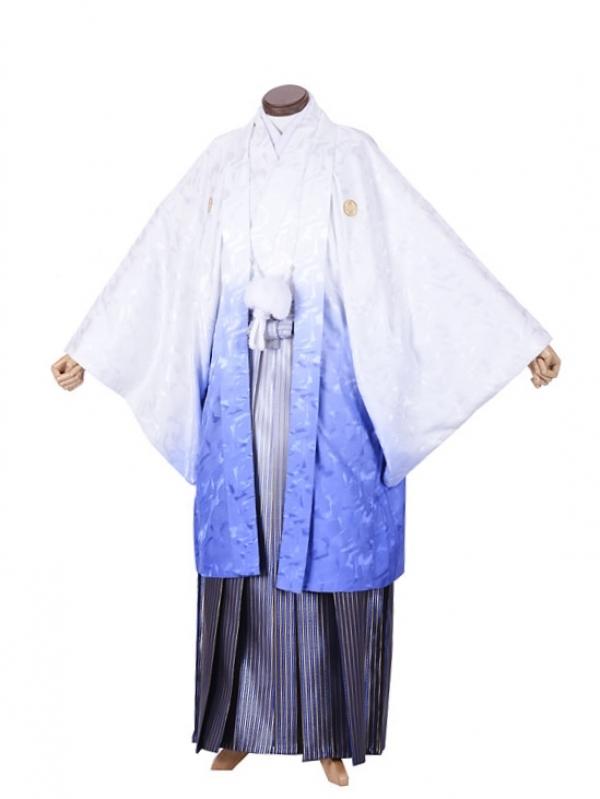 男性用袴・成人式・ブルーホワイトボカシ8号