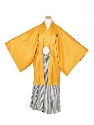 男性用袴・成人式・山吹 白シルバー紺 6号