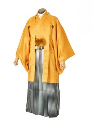 男性用袴・成人式・ゴールドかのこ/白黒銀ボカシ緑
