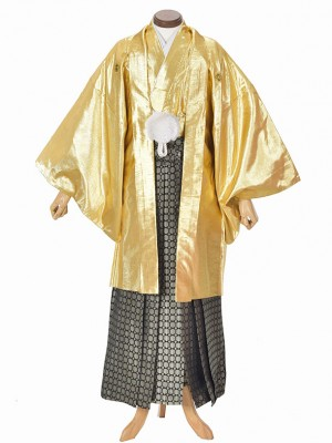 男性用袴・成人式・卒業式・ゴールド紋服