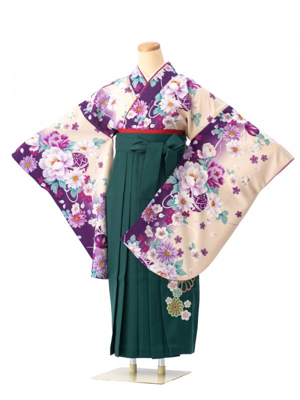 小学生卒業袴レンタル(女子)0030SSクリーム地に紫ぼかし牡丹と鞠 袴緑刺繍
