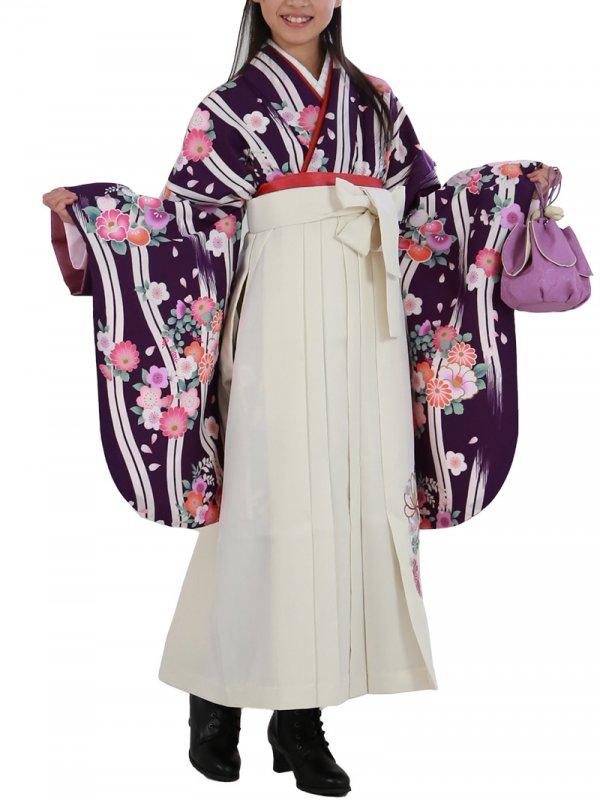 小学生卒業袴レンタル(女子)0027SS紫地に縞模様桜と牡丹 袴白刺繍