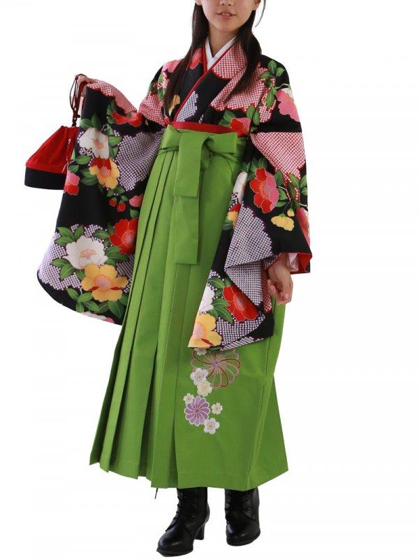 小学生卒業袴レンタル(女子)0006SS黒地に牡丹とかのこ雲 袴黄緑刺繍