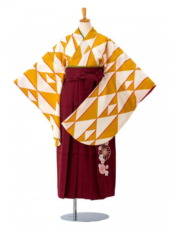 小学生卒業袴レンタル(女子)0010SS白地に黄色鱗 袴えんじ刺繍