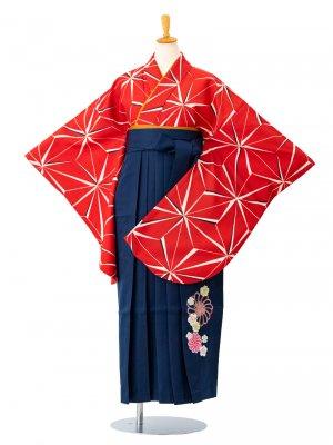 小学生卒業袴レンタル(女子)0003SS麻の葉 赤 袴紺刺繍