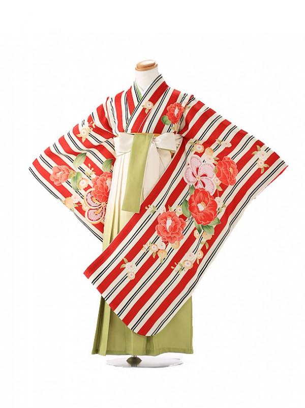 卒園式 ジュニア袴(女の子) 式部浪漫 赤ストライプ 7179