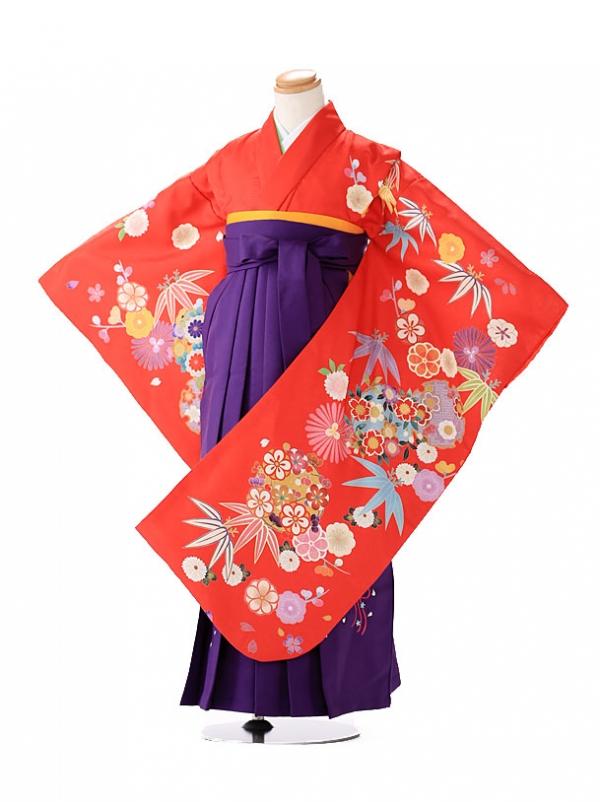 卒園式 ジュニア袴(女の子) 赤 POP古典 7225