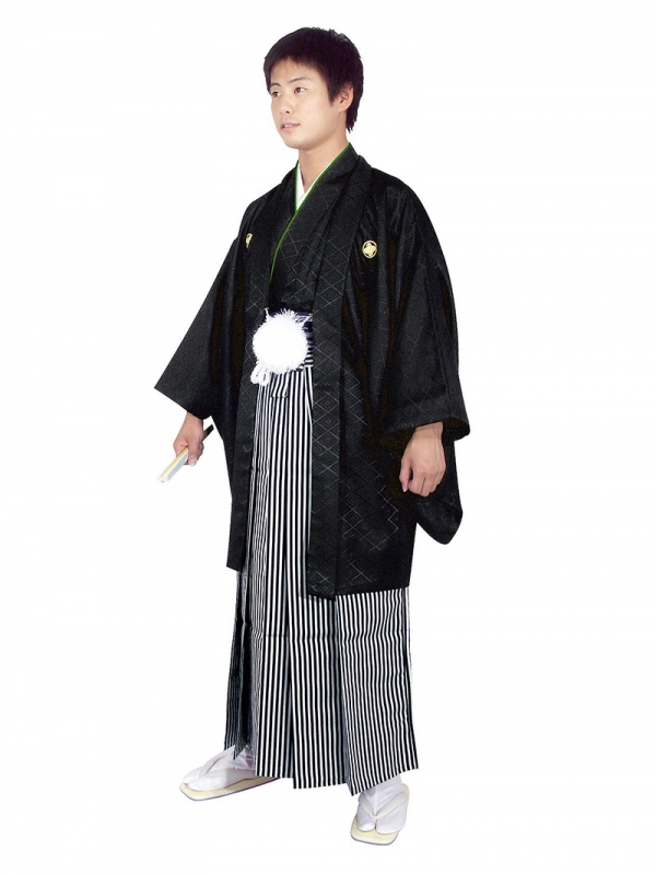 E-SV07-5-1 5号黒紋付白/黒縞袴