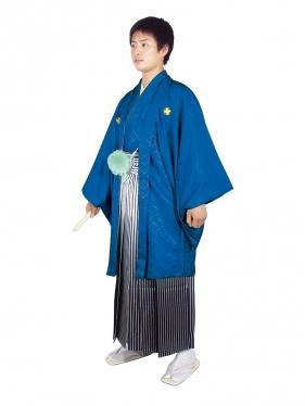E-SV06-5-1 5号紺紋付白/銀ぼかし袴