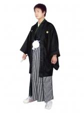 E-SV07-6-1 6号黒紋付白/黒縞袴