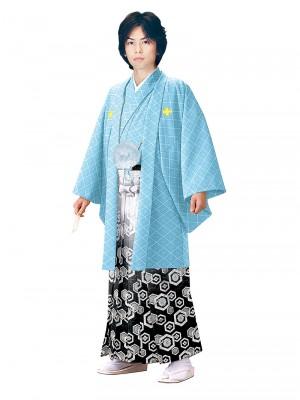 E-SV01-5-1 5号ブルー紋付白/銀亀甲袴