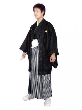 E-SV07-4-1 4号黒紋付白/黒縞袴