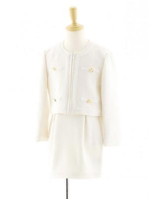 女児フォーマルスーツ ノーカラージャケット 白 0078 120cm