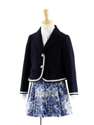女児フォーマルスーツ  ネイビージャケット×青花柄スカート 0072 120cm