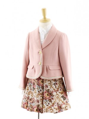 女児フォーマルスーツ ピンクジャケット×ピンク花柄スカート 0073 120cm