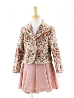 女児フォーマルスーツ ピンク花柄ジャケット×ピンクスカート 0074 120cm