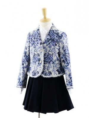 女児フォーマルスーツ 青花柄ジャケット×ネイビースカート 0071 120cm