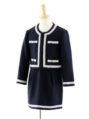 女児フォーマルスーツ ノーカラージャケット 紺 0077 120cm