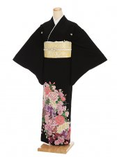 黒留袖レンタル3-53 祝い花盛り(広幅)
