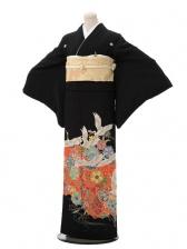 黒留袖C3185 赤に鶴