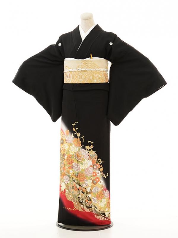 黒留袖レンタル3189桂由美バラに波赤