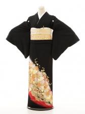 黒留袖3189桂由美バラに波赤