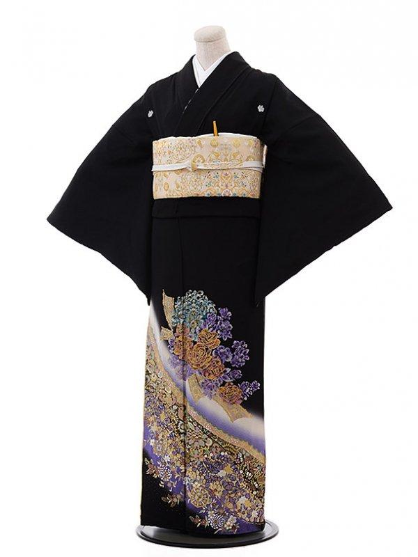 黒留袖レンタル3176桂由美神秘な花パープル