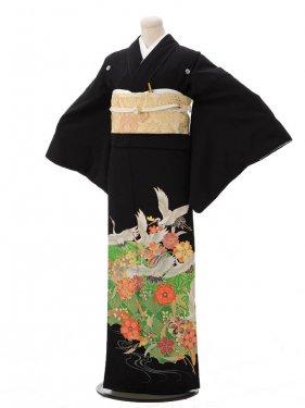 黒留袖レンタルC3186 緑に鶴
