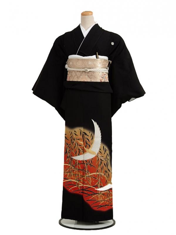 黒留袖レンタル3123柳に鶴